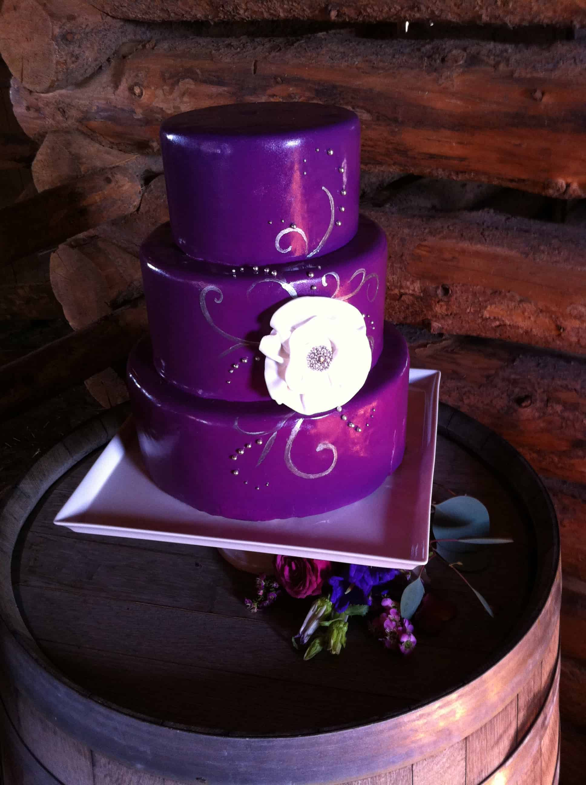 Purple and Silver Bridal Shower Cake