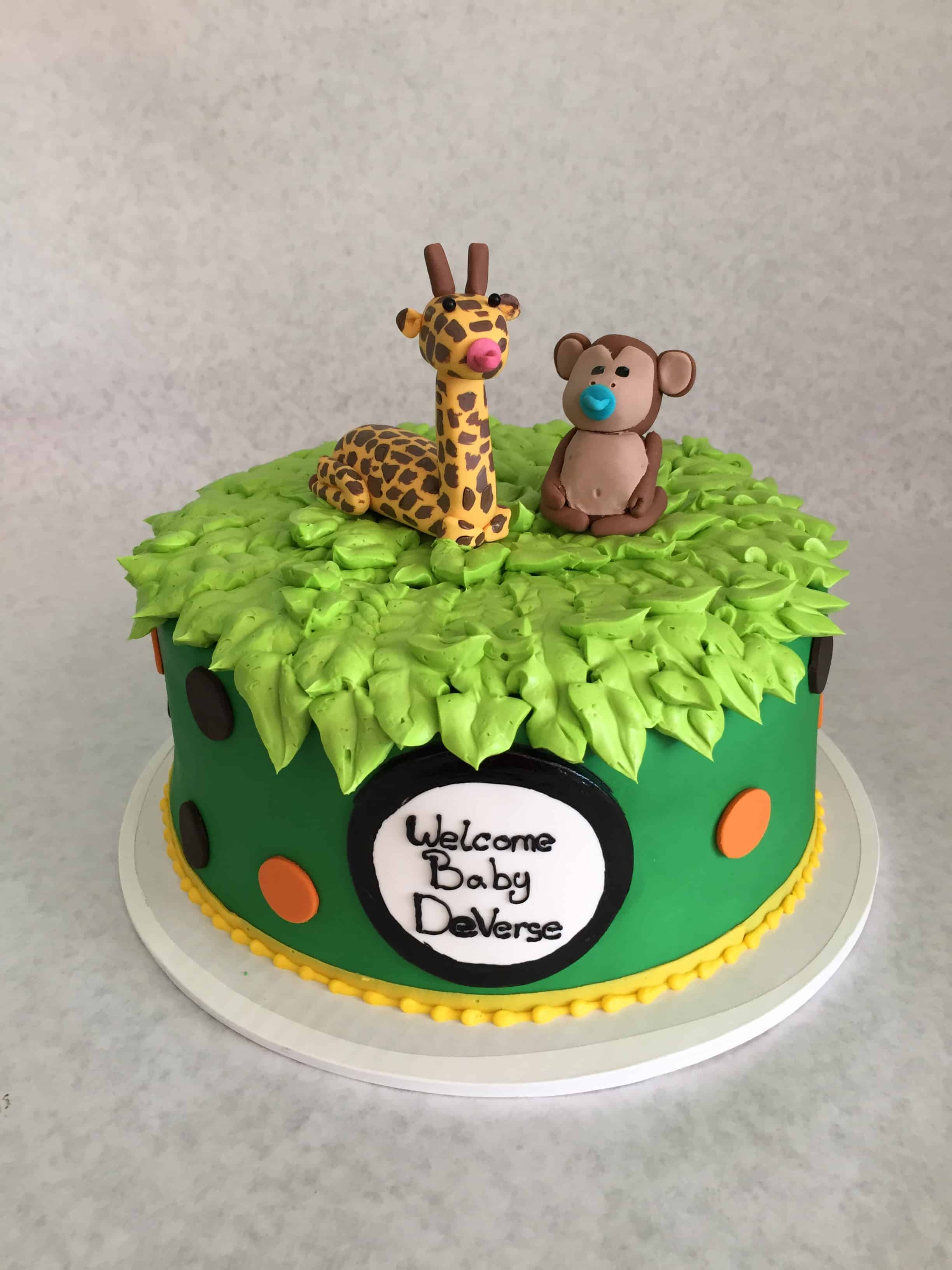 The Makery Cake Company Safari Animals Baby Shower Cake