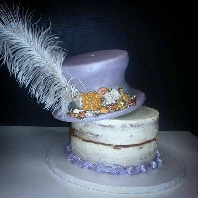 Steam Punk Hat and Feather Naked Cake