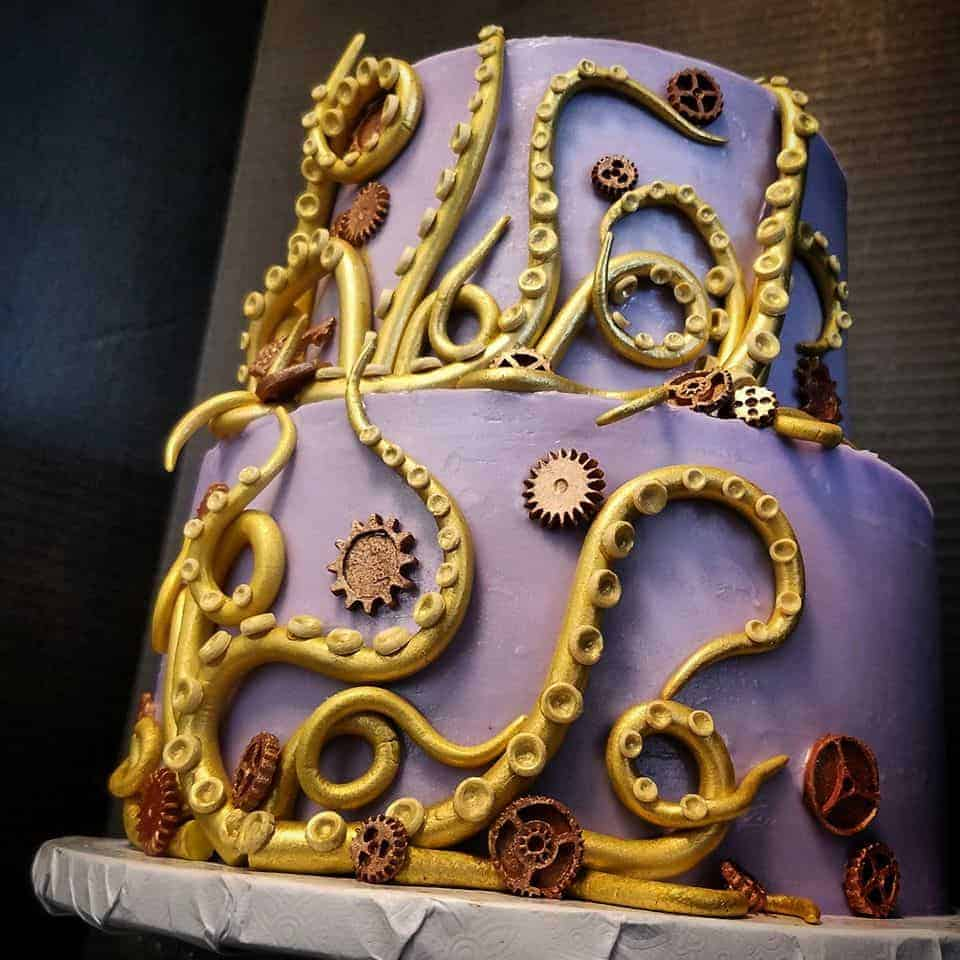 Steampunk Purple Wedding Cake with Octopus and Cog Gears