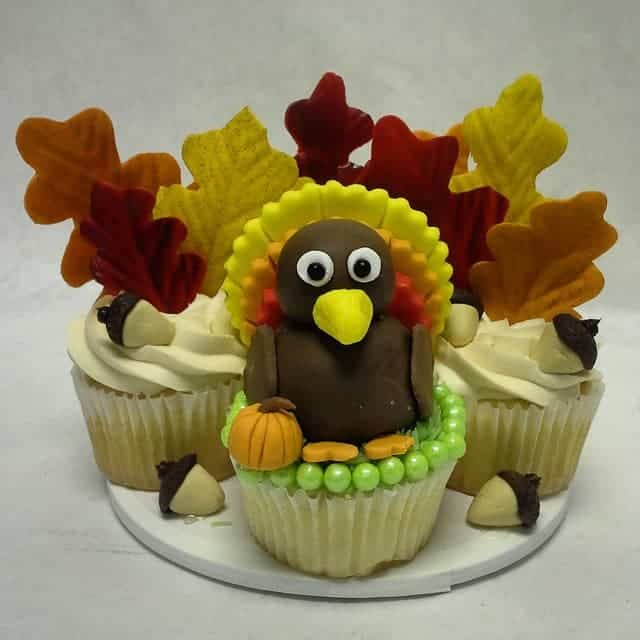 Turkey Cupcakes with Sugar Leaves