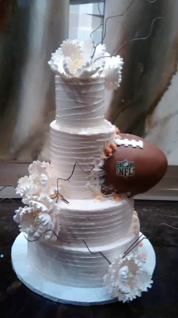 Wedding Cake with Football Sticking