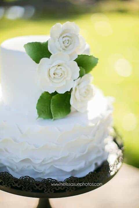 White 2 Tier Cake with Fondant Ruffles and a White Flower with Green Leaves