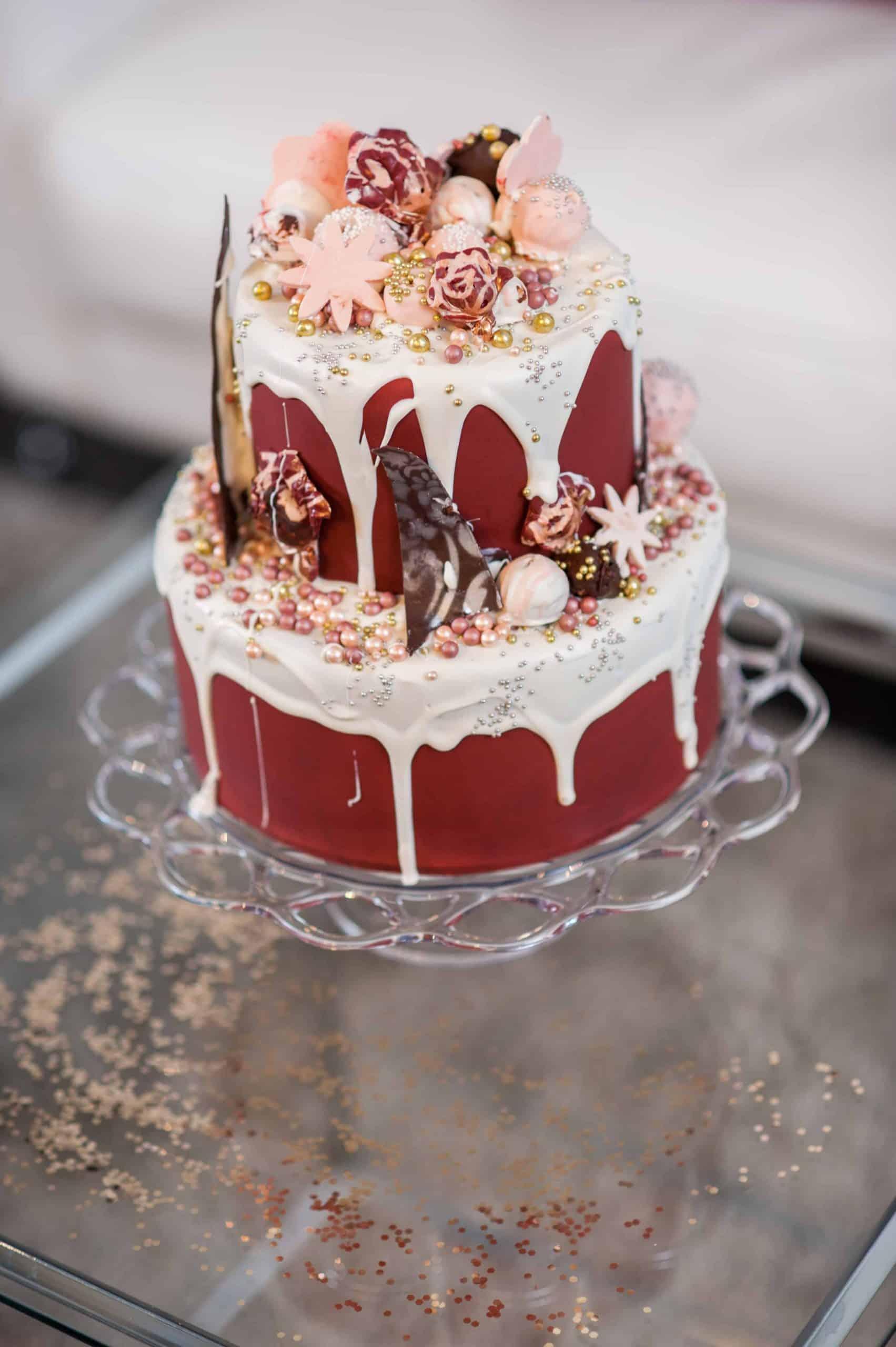 White Chocolate and Burgundy Drip Cake