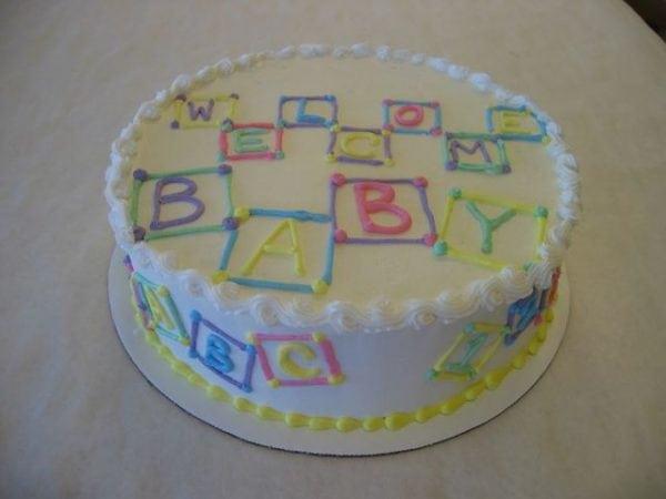 Baby Shower Cake With Buttercream Blocks