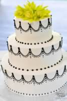 Black and White Swag Wedding Cake