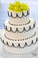 Black and White Swag Wedding Cake