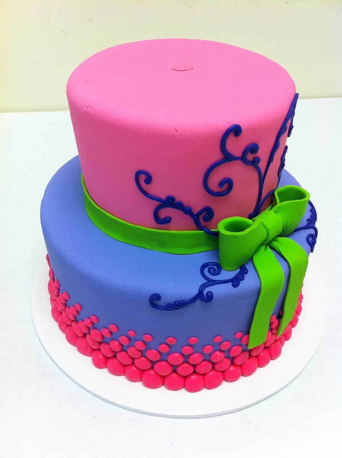 Bright and Fun 2 Tiered Birthday Cake