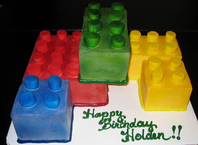 Building Blocks Stacked Up Birthday Cake