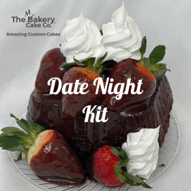 Chocolate cake with dipped berries and whip as a date night kit