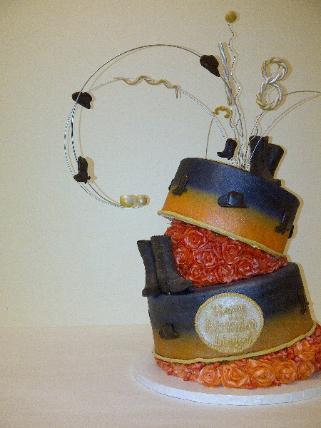 The Makery Cake Company Cowboy in Topsy Turvy Wire Topper and Belt Buckle Cake