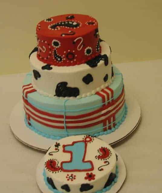 Cowboy Themed Tiered Birthday Cake