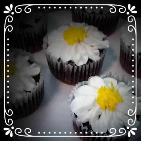 Cupcakes with Buttercream Daisy's on Top
