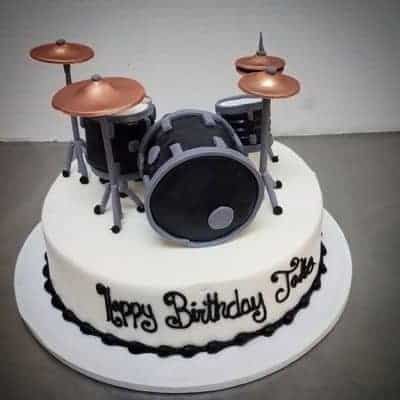 Drum Set Birthday Cake Sculpted In 3D With Fondant And Rice Cereal Treats
