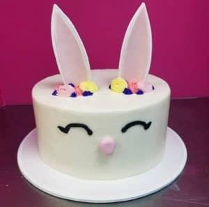 Easter Bunnie Face Cake With Edible Ears
