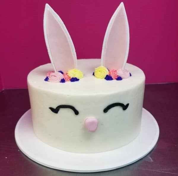 Easter Bunnie Face Cake With Edible Ears
