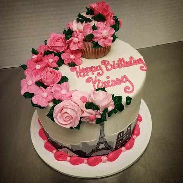 The Makery Cake Company Eiffle Tower and Pink Flower Cake