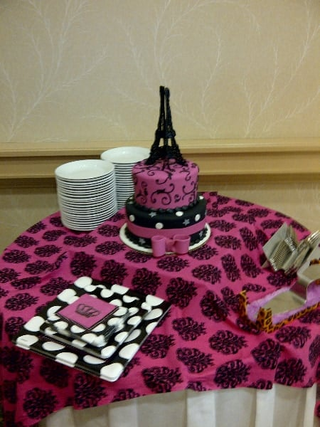 The Makery Cake Company Eiffle Tower Two Tiered Elegant Hot Pink and black