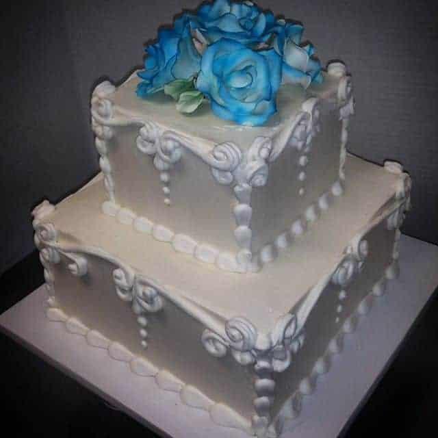 Elegant Layered Scroll Border Cake