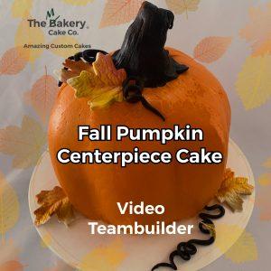 pumpkin cake with edible fall leaves