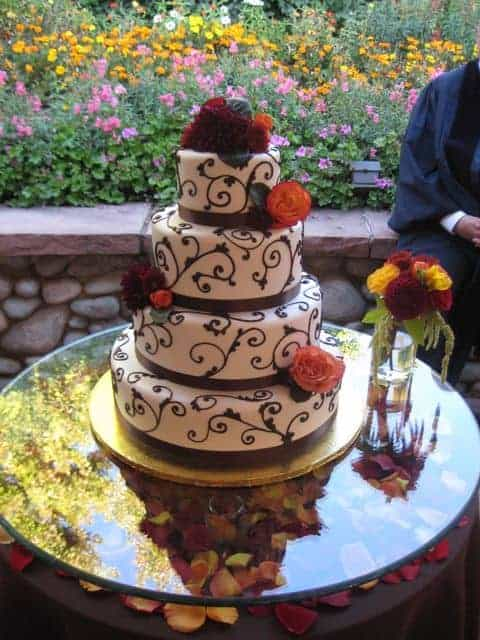 Fall Theme Scroll Wedding Cake with Brown and Burnt Orange