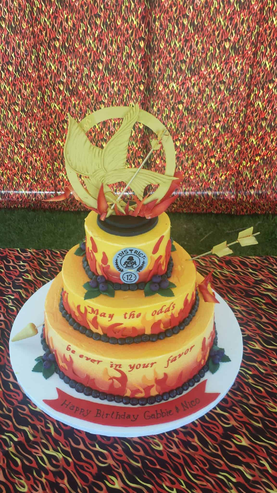 Tremendous Fire And Archery Birthday Cake In Denver The Makery Cake Co Personalised Birthday Cards Veneteletsinfo