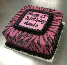 Fuschia Zebra and Feather Boa Cake
