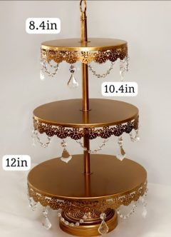 Gold Jeweled 3 Tier Cupcake Stand