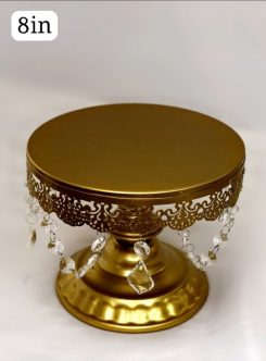 Gold Jeweled Elevated Cake Stand