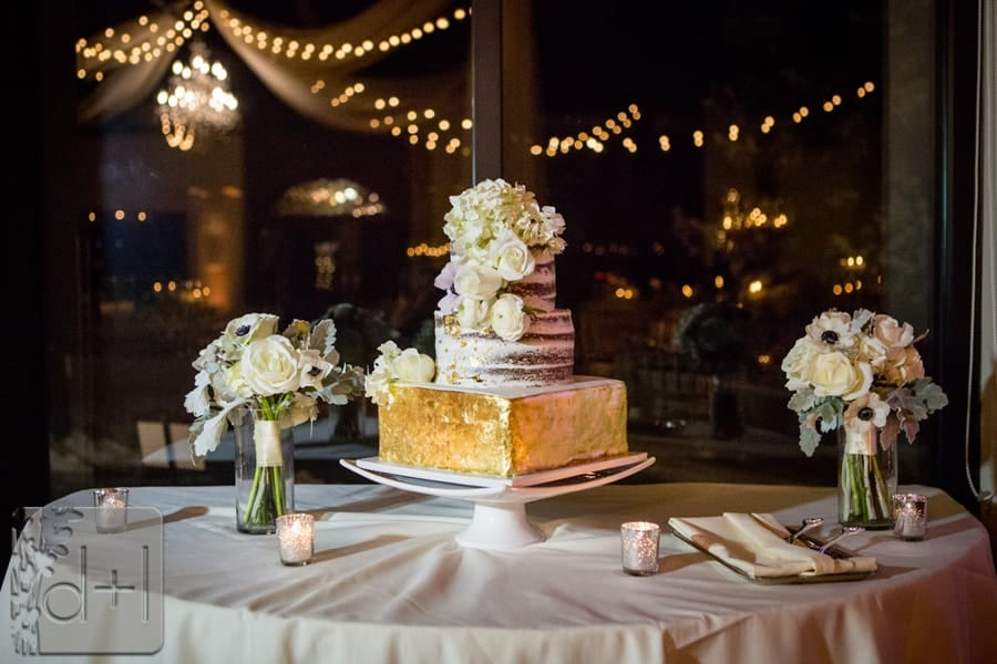 Gold Leaf Covered Tier Wedding Cake