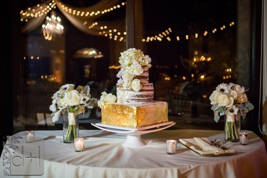 Gold Leaf Covered Tier Wedding Cake