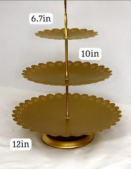 Gold Scalloped 3 Tier Cupcake Stand