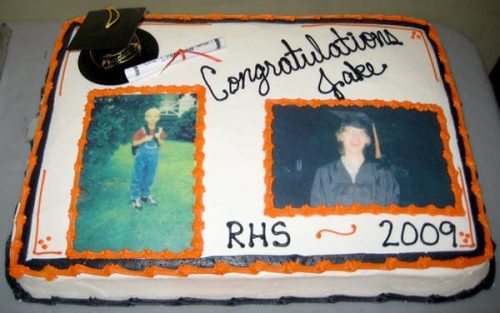 A rectangle sheet cake with 2 edible photos of the graduate and a plastic graduation cap