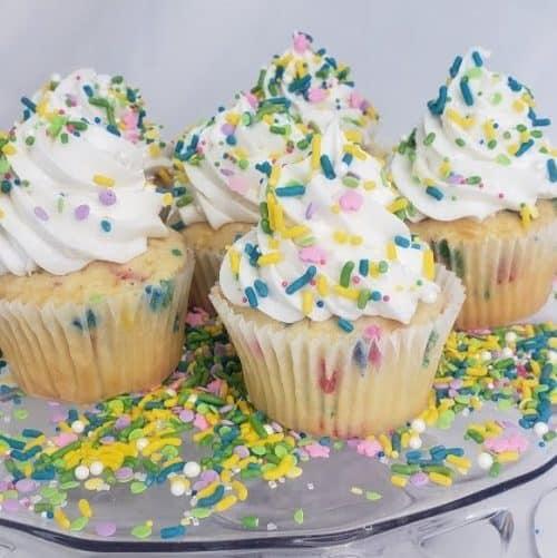 Cupcakes in colorful spring sprinkles