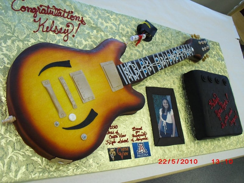 The Makery Cake Guitar Replica Cake for Graduation