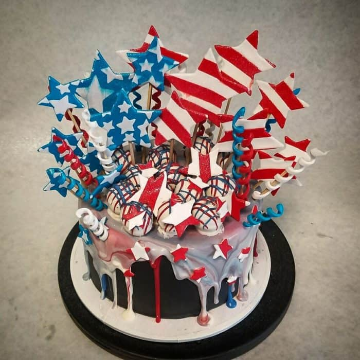 A 4th of July cake bursting with red white and blue stars and streamers