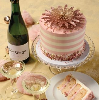 pink champagne cake from magazine