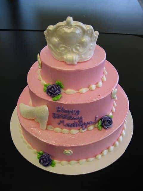 Birthday Cake for a Princess with a Crown and Flowers