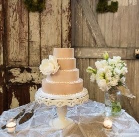 small brown wedding cake