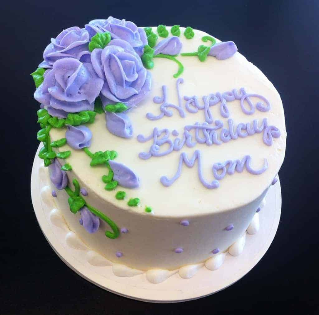 Swell Moms Birthday Cake Done With Lovely Purple Roses The Makery Cake Co Personalised Birthday Cards Bromeletsinfo