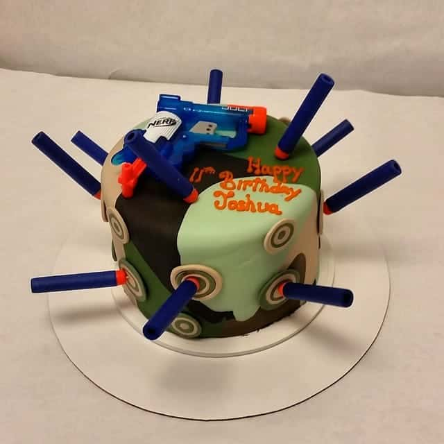 Nerf Dart Cake Done with Cammoflauge