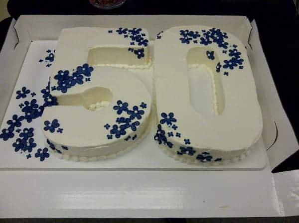 Number Cut Out Cake with Flowers