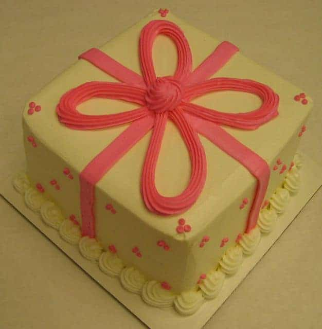 Package Cake Done in Buttercream with a Pink Bow