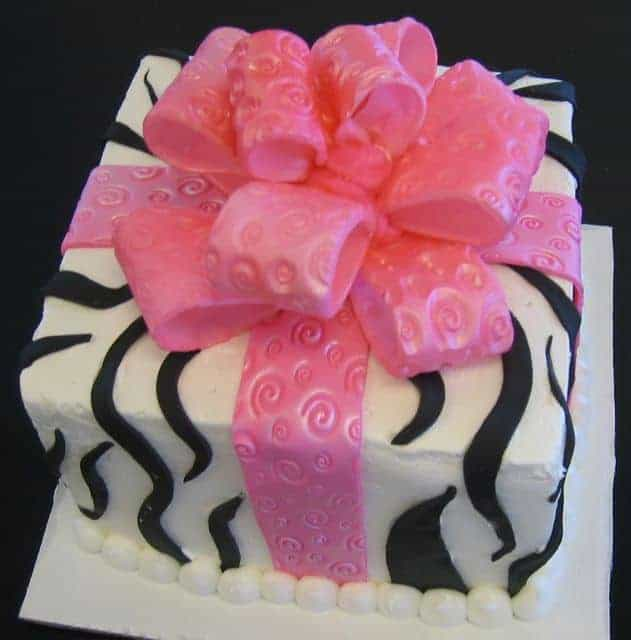 Package Cake with Pink Bow and Black Zebra Stripes