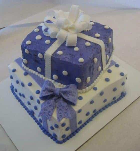 The Makery Cake Company Purple and White With Ribbon