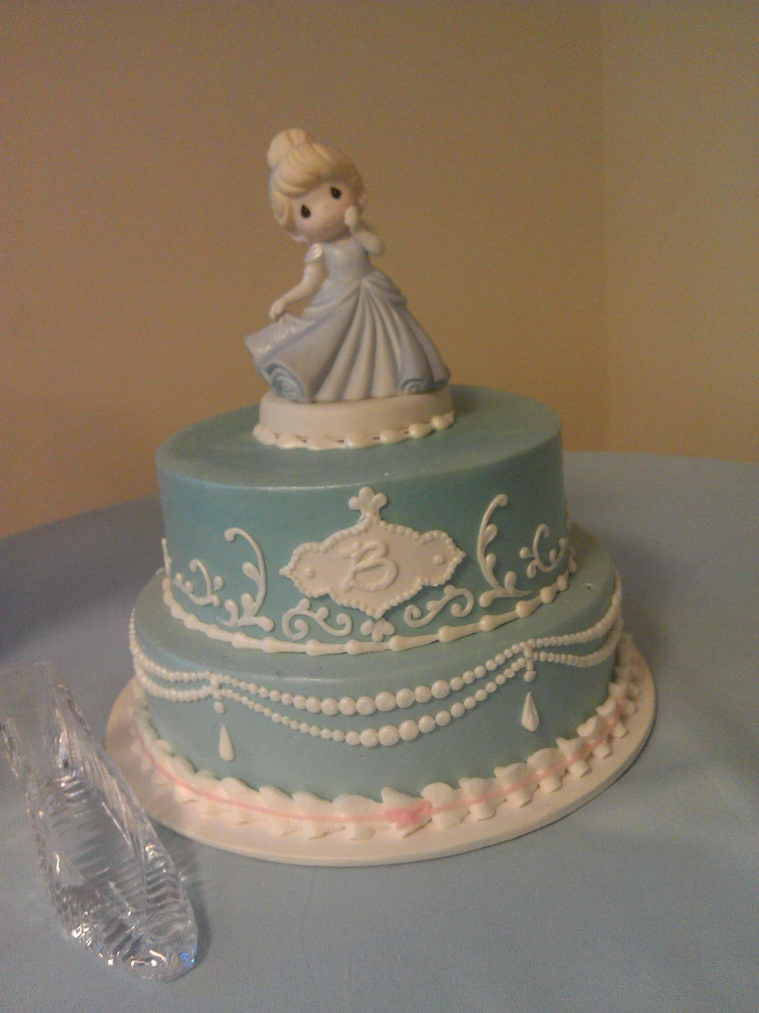 Precious Light Blue Two Tiered Cake