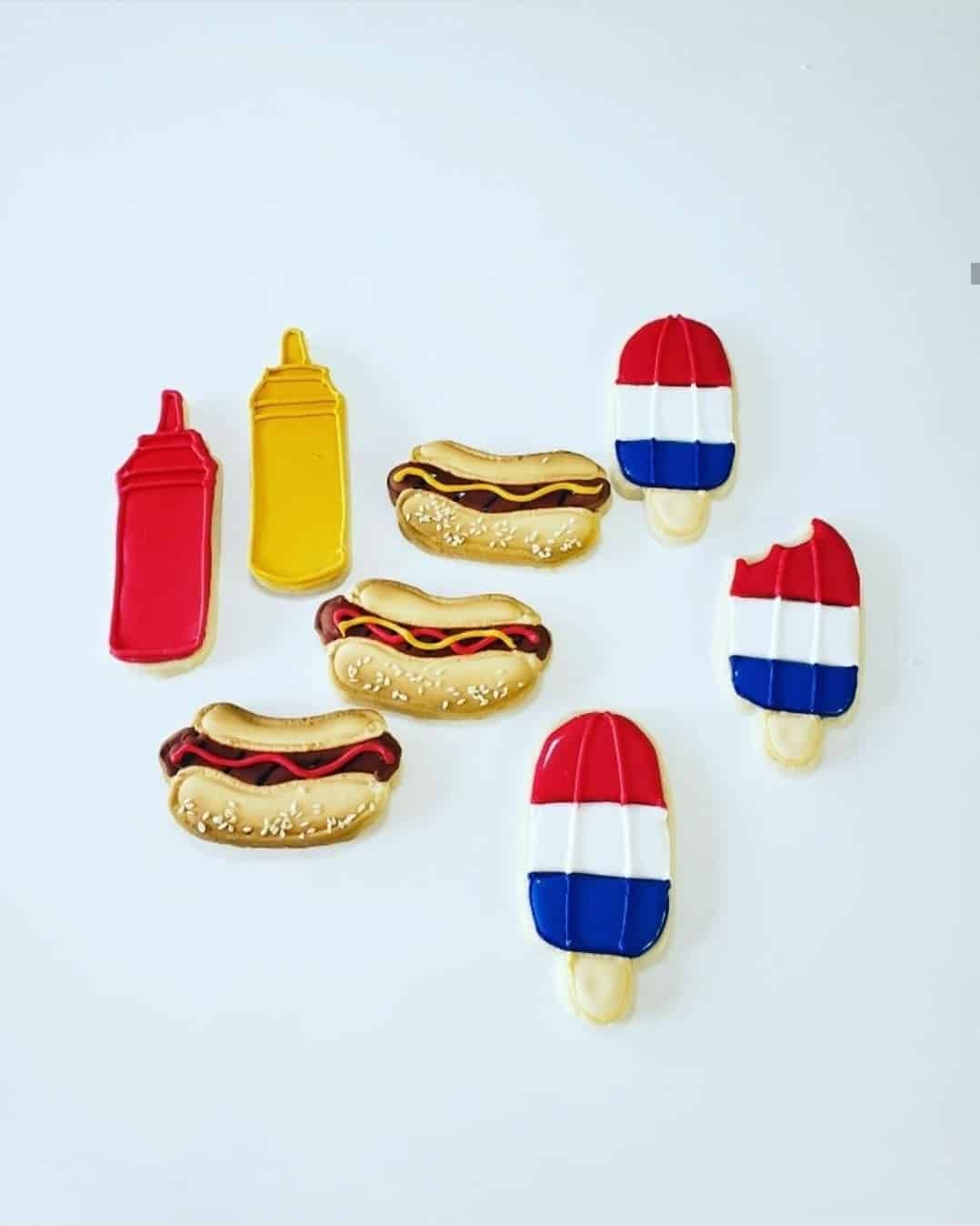 Sugar Cookies-4th of July Hot Dogs and Popsicles