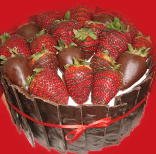 cake with berries and chocolate