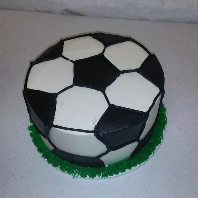 Magnificent Soccer Ball Round Cake Birthday Cake The Makery Cake Co Personalised Birthday Cards Veneteletsinfo