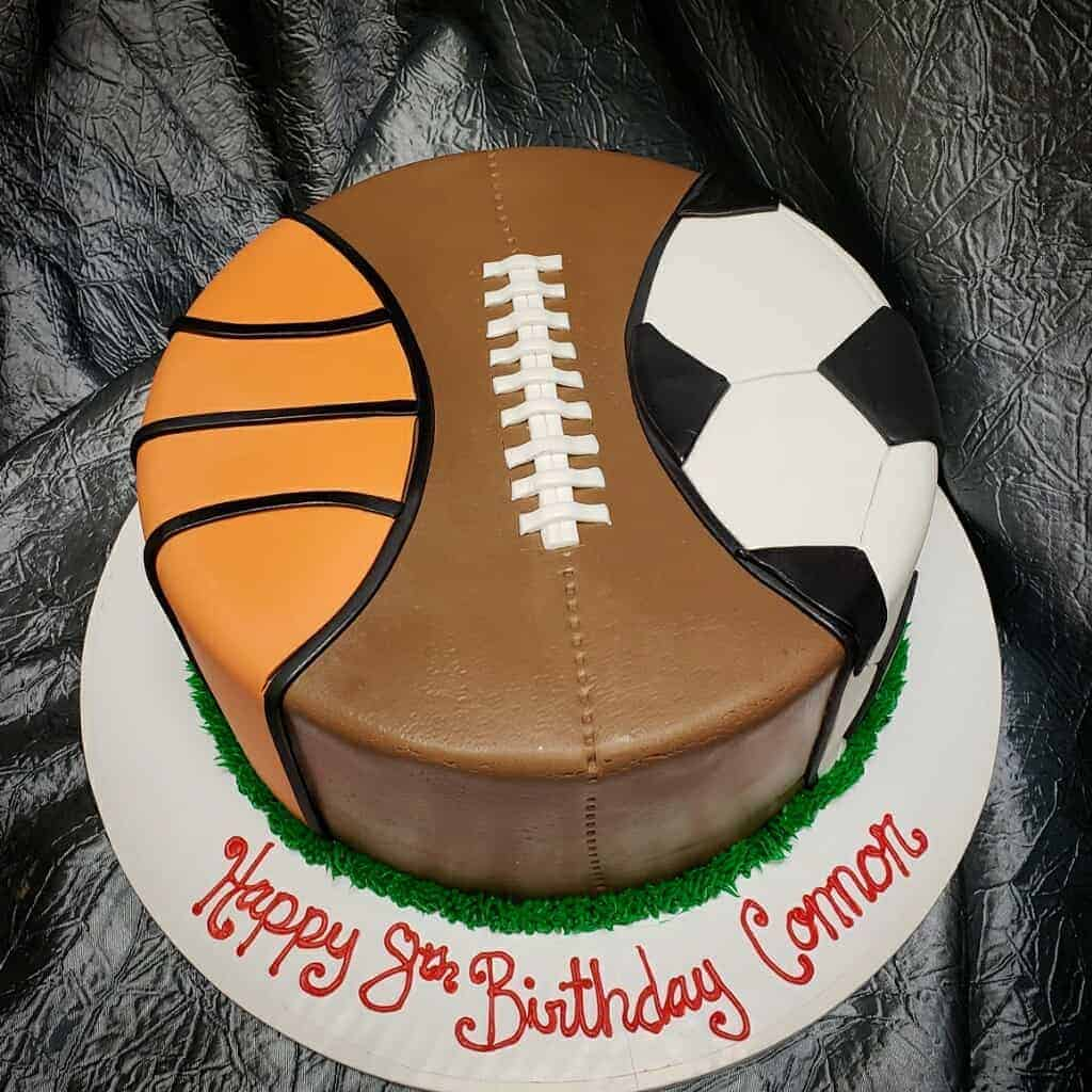 Pleasant Sports Ball Birthday Cake The Makery Cake Co Personalised Birthday Cards Veneteletsinfo
